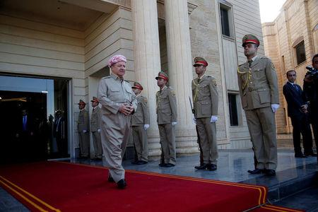 FILE PHOTO: Iraq's Kurdistan region's President Massoud Barzani waits to receive French Foreign Minister Jean-Yves le Drian and the French Defence Minister Florence Parly in Erbil, Iraq, August 26, 2017. REUTERS/Azad Lashkari