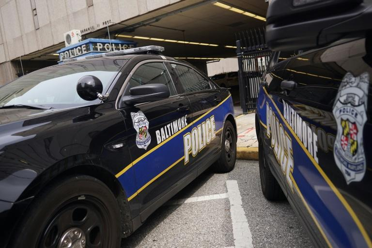 Police cars outside Baltimore police headquarters