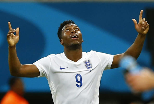 England's Daniel Sturridge celebrates scoring a goal during their 2014 World Cup Group D soccer match against Italy at the Amazonia arena in Manaus June 14, 2014. REUTERS/Darren Staples (BRAZIL - Tags: SOCCER SPORT WORLD CUP)