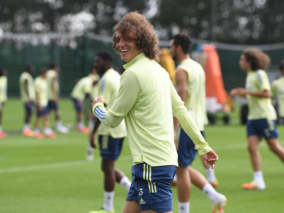 David Luiz of Arsenal during a training session: Arsenal FC via Getty Images