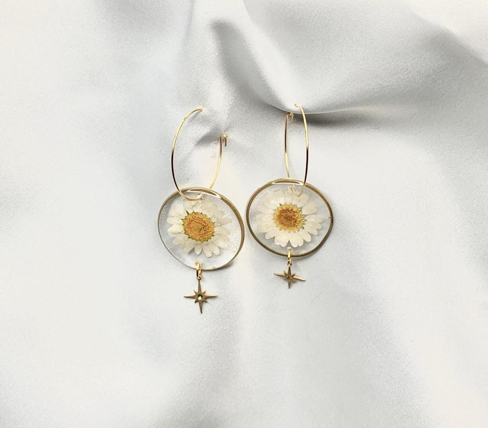 <p>These <span>Resin and Gold Plated Brass Earrings</span> ($25) will get you tons of compliments.</p>