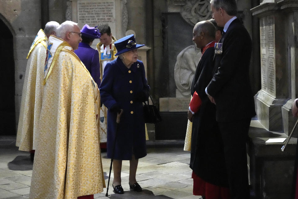 LONDON, ENGLAND - OCTOBER 12: Queen Elizabeth II attends a service of Thanksgiving to mark the centenary of The Royal British Legion at Westminster Abbey on October 12, 2021 in London, England. (Photo by Frank Augstein - WPA Pool/Getty Images)