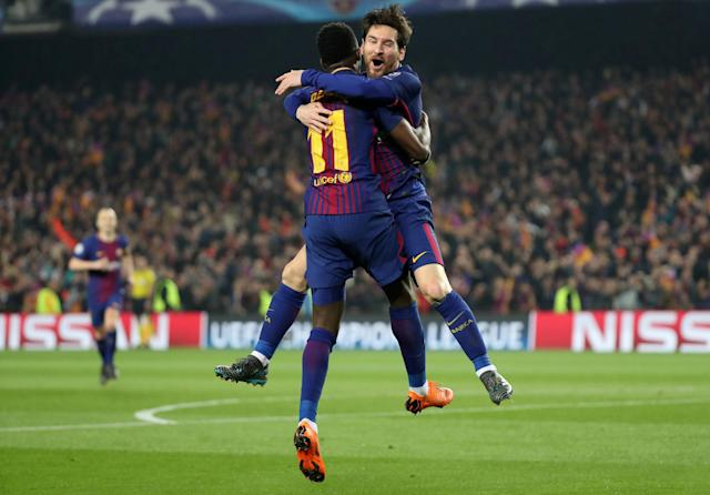 Soccer Football - Champions League Round of 16 Second Leg - FC Barcelona vs Chelsea - Camp Nou, Barcelona, Spain - March 14, 2018 Barcelona's Ousmane Dembele celebrates with Lionel Messi after scoring their second goal REUTERS/Susana Vera TPX IMAGES OF THE DAY