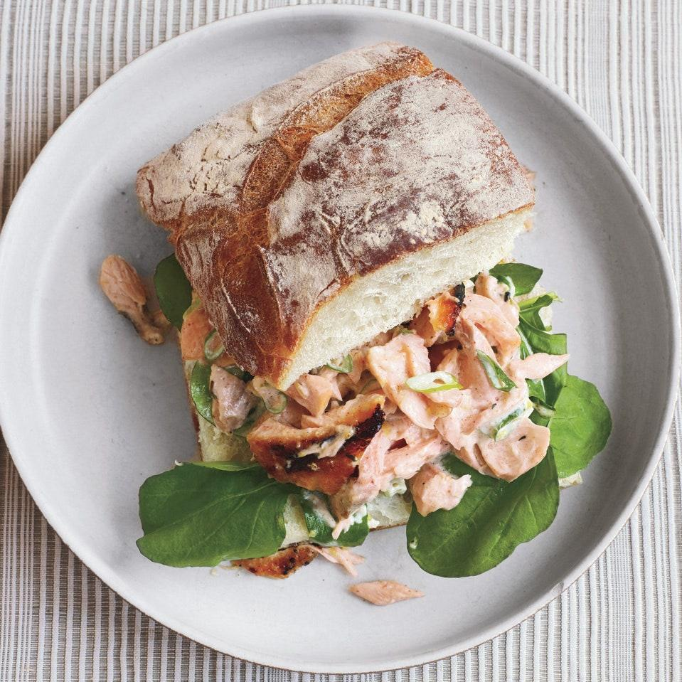 "This hearty sandwich is a great way to make use of leftover grilled salmon. <a href=""https://www.epicurious.com/recipes/food/views/salmon-salad-sandwiches-on-ciabatta-358492?mbid=synd_yahoo_rss"" rel=""nofollow noopener"" target=""_blank"" data-ylk=""slk:See recipe."" class=""link rapid-noclick-resp"">See recipe.</a>"