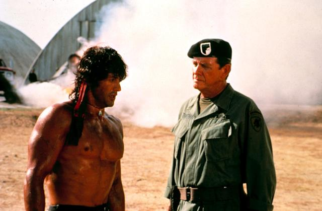 Rambo and his trusted commander, Trautman (Richard Crenna) in <em>First Blood Part II</em>. (Photo: Courtesy Everett Collection)