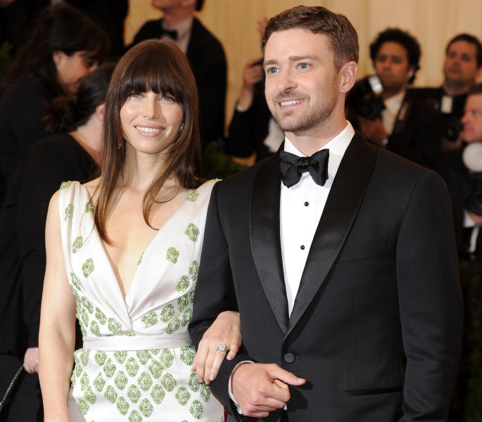 FILE - In this May 7, 2012, file photo, Jessica Biel and Justin Timberlake arrive at the Metropolitan Museum of Art Costume Institute gala benefit, celebrating Elsa Schiaparelli and Miuccia Prada in New York. The couple released a statement Friday, Oct. 19, 2012, to People magazine confirming their wedding. They said the ceremony was beautiful and it was special to be surrounded by our family and friends. (AP Photo/Evan Agostini, File)