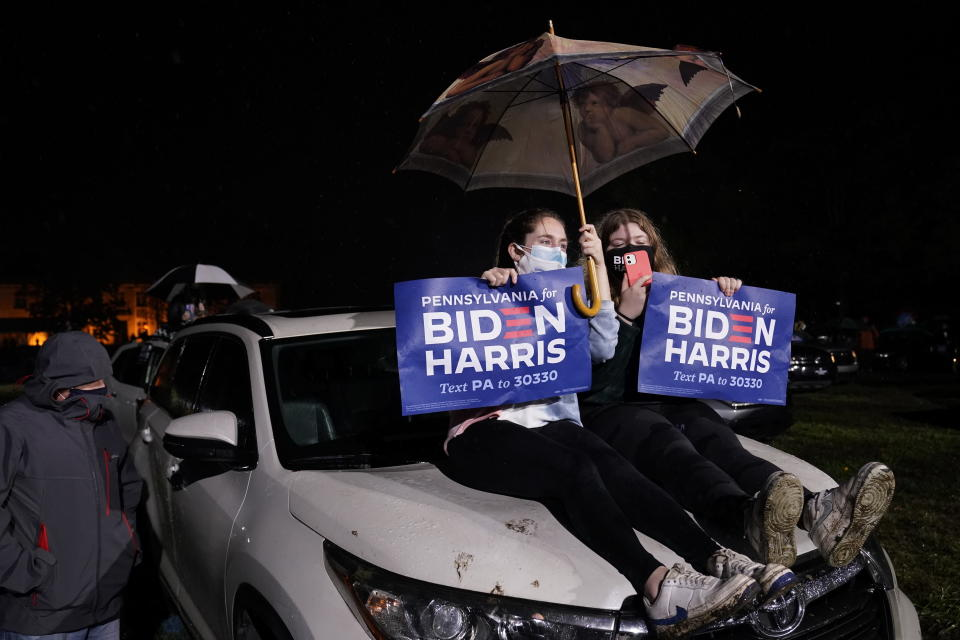 Biden supporters wait for Democratic presidential candidate former Vice President Joe Biden to speak at a drive-in rally at Franklin Delano Roosevelt Park, Sunday, Nov. 1, 2020, in Philadelphia. (AP Photo/Andrew Harnik)
