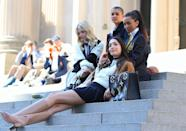 <p>Jordan Alexander, Whitney Peak, Zion Moreno, Emily Alyn Lind, Eli Brown and Savannah Smith are seen filming on the set of <em>Gossip Girl</em> on Tuesday in N.Y.C.</p>