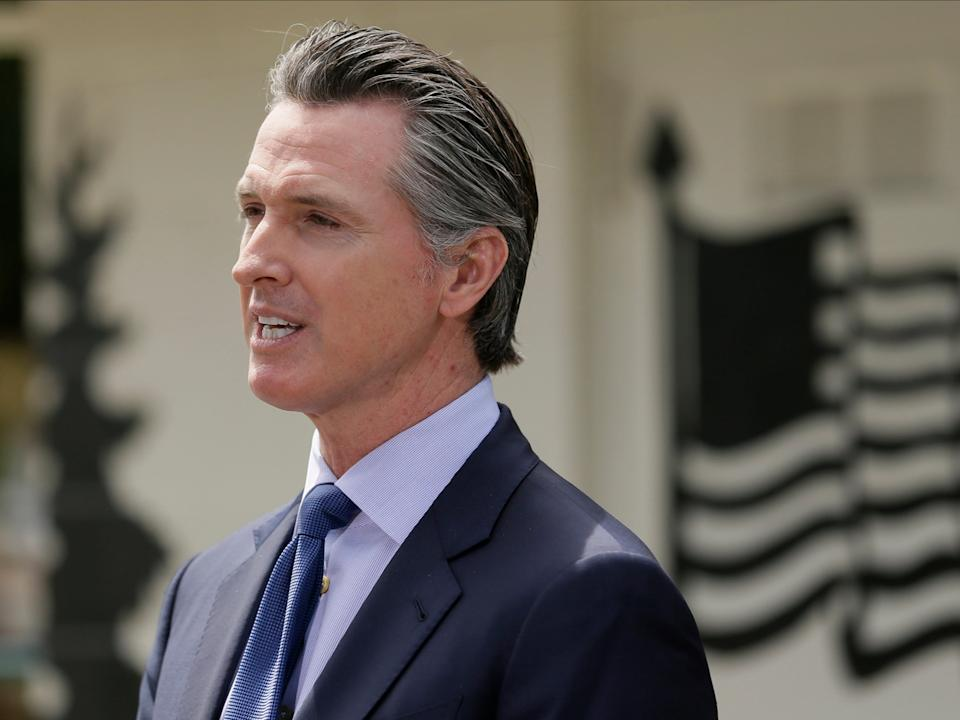<p>California Gov. Gavin Newsom speaks during a news conference at the Veterans Home of California in Yountville, California</p> (AP)