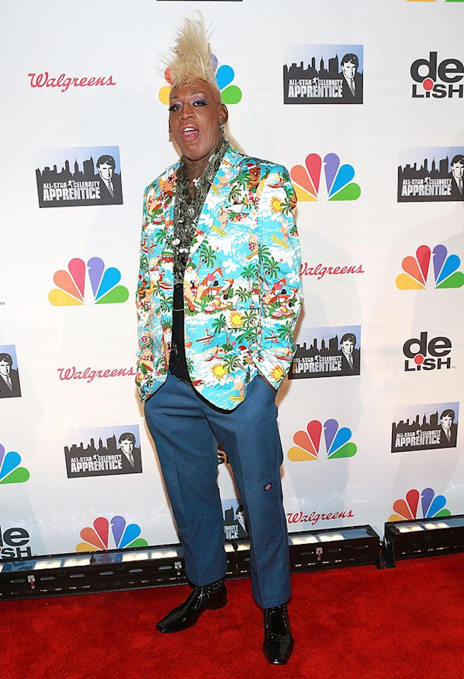 "NEW YORK, NY - MAY 19:  Dennis Rodman attends ""All Star Celebrity Apprentice"" Finale at Cipriani 42nd Street on May 19, 2013 in New York City.  (Photo by Robin Marchant/Getty Images)"