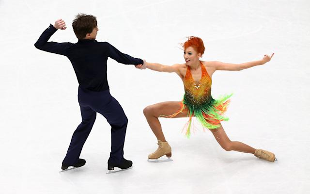 Figure Skating - World Figure Skating Championships - The Mediolanum Forum, Milan, Italy - March 23, 2018 Russia's Tiffany Zahorski and Jonathan Guerreiro during the Ice Dance Short Dance program REUTERS/Alessandro Bianchi