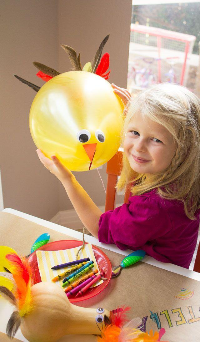 """<p>After your kids are done crafting these sweet and silly balloons, tie them onto the backs of their chairs at Thanksgiving dinner. We have a feeling they'll be happier to sit tight and enjoy the meal with a turkey floating overhead!</p><p><strong>Get the tutorial at <a href=""""https://designimprovised.com/2014/11/thanksgiving-kids-crafts.html"""" rel=""""nofollow noopener"""" target=""""_blank"""" data-ylk=""""slk:Design Improvised"""" class=""""link rapid-noclick-resp"""">Design Improvised</a>.</strong></p><p><strong><a class=""""link rapid-noclick-resp"""" href=""""https://www.amazon.com/Andaz-Press-Classroom-Thanksgiving-Decorations/dp/B071XVCX89?tag=syn-yahoo-20&ascsubtag=%5Bartid%7C10050.g.28638625%5Bsrc%7Cyahoo-us"""" rel=""""nofollow noopener"""" target=""""_blank"""" data-ylk=""""slk:SHOP YELLOW BALLOONS"""">SHOP YELLOW BALLOONS</a><br></strong></p>"""