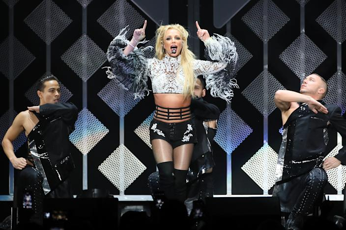 LOS ANGELES , CA - DECEMBER 02: Britney Spears performs on stage during the 102.7 KIIS FM's Jingle Ball 2016 on December 02, 2016 in Los Angeles, California.  (Photo by JB Lacroix/WireImage)