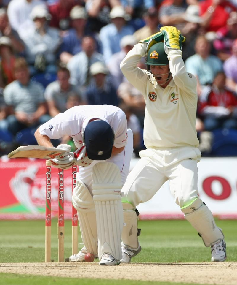 CARDIFF, WALES - JULY 12: Brad Haddin of Australia holds his head after Paul Collingwood of England stops the ball from hitting his wicket during day five of the npower 1st Ashes Test Match between England and Australia at the SWALEC Stadium on July 12, 2009 in Cardiff, Wales.  (Photo by Clive Rose/Getty Images)