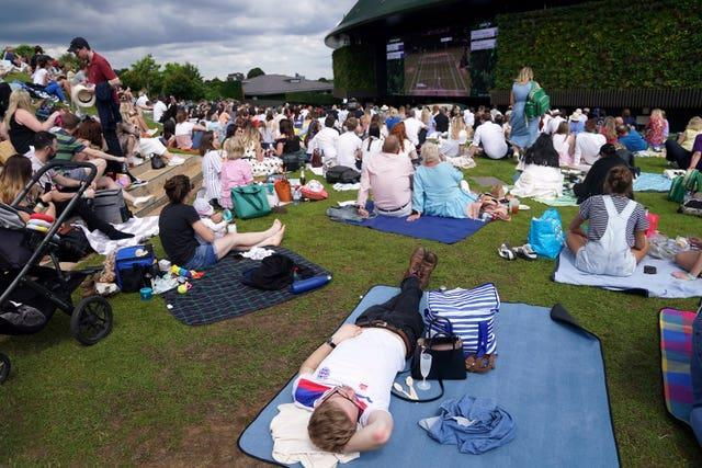 Fans watch the action on 'Murray Mound'