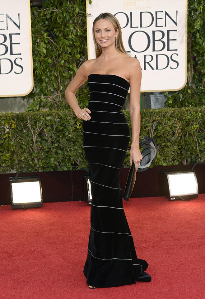 Stacy Keibler arrives at the 70th Annual Golden Globe Awards at the Beverly Hilton in Beverly Hills, CA on January 13, 2013.