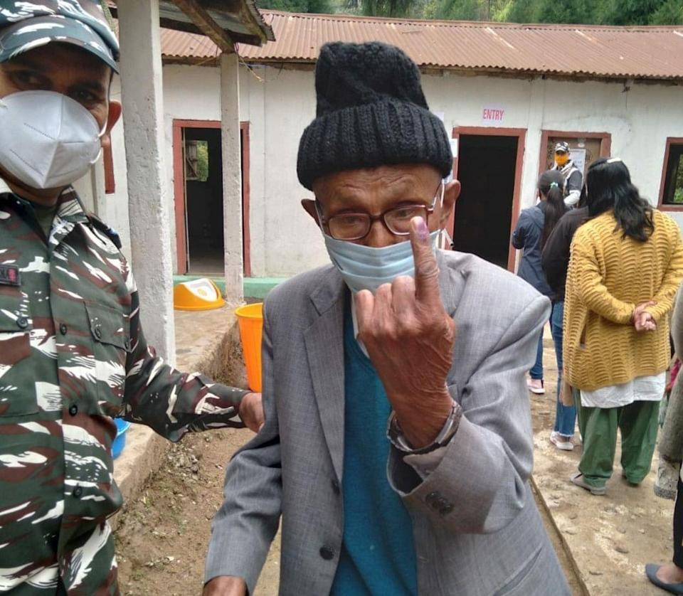 A Proud Elector after casting his vote at 23 Darjeeling Assembly Constituency of Darjeeling District.
