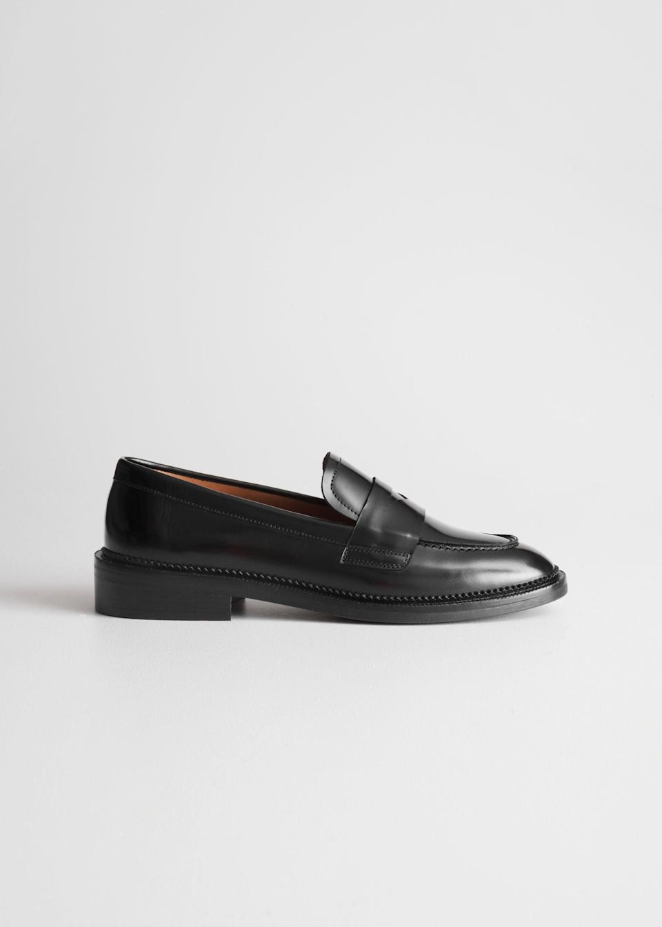 """To wear with your new socks. <br> <br> <strong>& Other Stories</strong> Round Toe Leather Loafer, $, available at <a href=""""https://go.skimresources.com/?id=30283X879131&url=https%3A%2F%2Fwww.stories.com%2Fen_usd%2Fshoes%2Fflats%2Floafers%2Fproduct.round-toe-loafer-black.0609781002.html"""" rel=""""nofollow noopener"""" target=""""_blank"""" data-ylk=""""slk:& Other Stories"""" class=""""link rapid-noclick-resp"""">& Other Stories</a>"""
