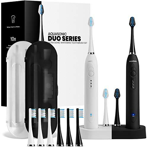 AquaSonic DUO Dual Handle Ultra Whitening 40,000 VPM Wireless Charging Electric ToothBrushes - 3 Modes with Smart Timers - 10 DuPont Brush Heads & 2 Travel Cases Included (Amazon / Amazon)