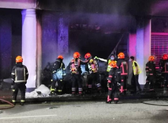 SCDF personnel at the scene of the car accident at Tanjong Pagar Road.