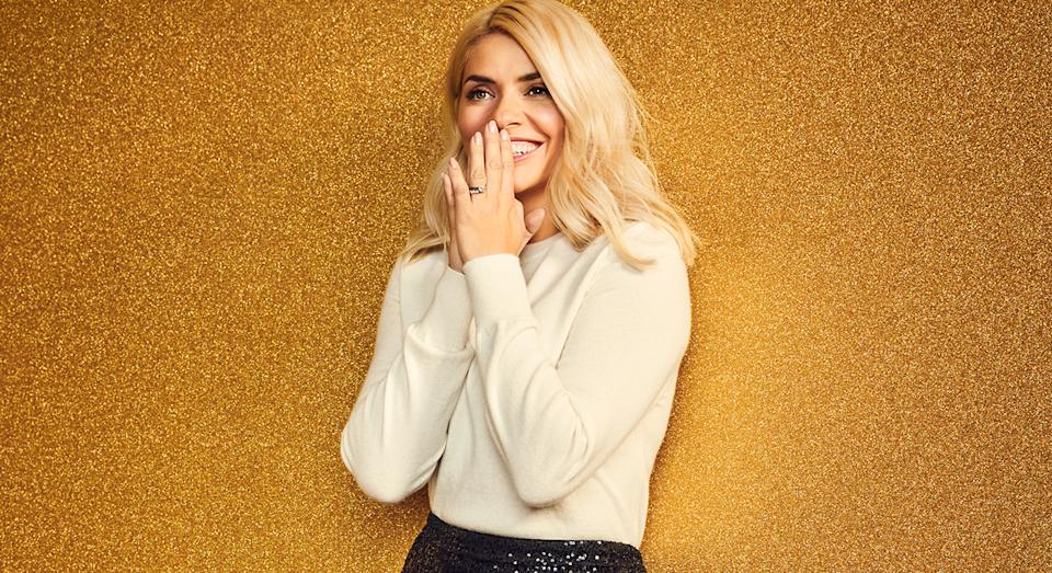 Holly Willoughby showcases new sequin skirt in M&S' Christmas campaign, and we are here for it. (Getty Images)