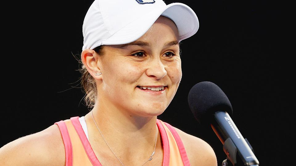 Ash Barty, pictured here after her win over Ana Bogdan at the WTA 500 Yarra Valley Classic.