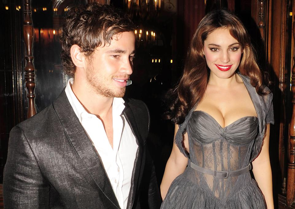 """Danny Cipriani and Kelly Brook are seen departing opening night of """"Calendar Girls"""" on November 3, 2009 in London, England. (Photo by Niki Nikolova/FilmMagic)"""