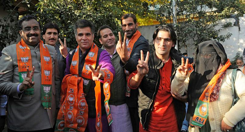 BJP leaders in Srinagar. Image used for representational purpose only. Photo: Getty Images