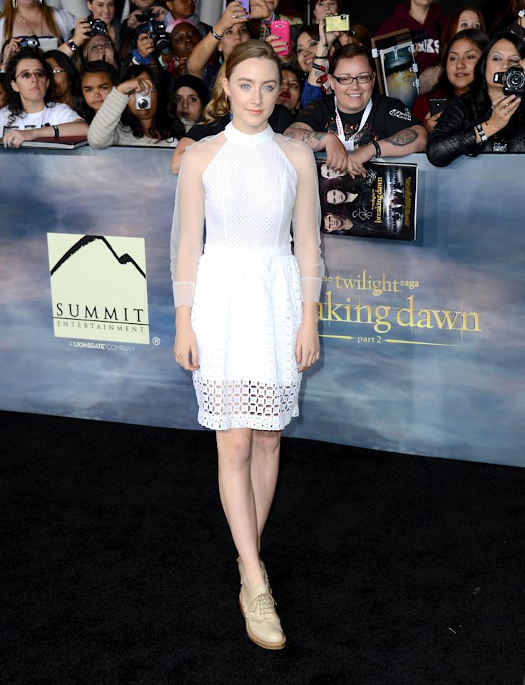 """Saoirse Ronan arrives at the premiere of Summit Entertainment's """"The Twilight Saga: Breaking Dawn - Part 2"""" at Nokia Theatre L.A. Live on November 12, 2012 in Los Angeles, California.  (Photo by Michael Buckner/Getty Images)"""