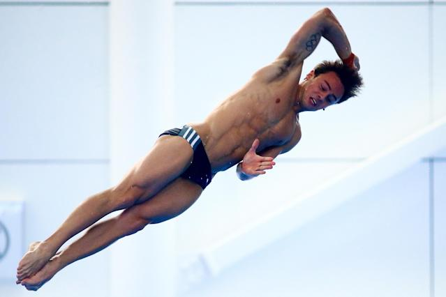 SOUTHEND, ENGLAND - JANUARY 24: Tom Daley of Dive London Aquatics Club competes in the Men's Platform during Day Three of the National Diving Cup on January 24, 2016 in Southend, England. (Photo by Jordan Mansfield/Getty Images)