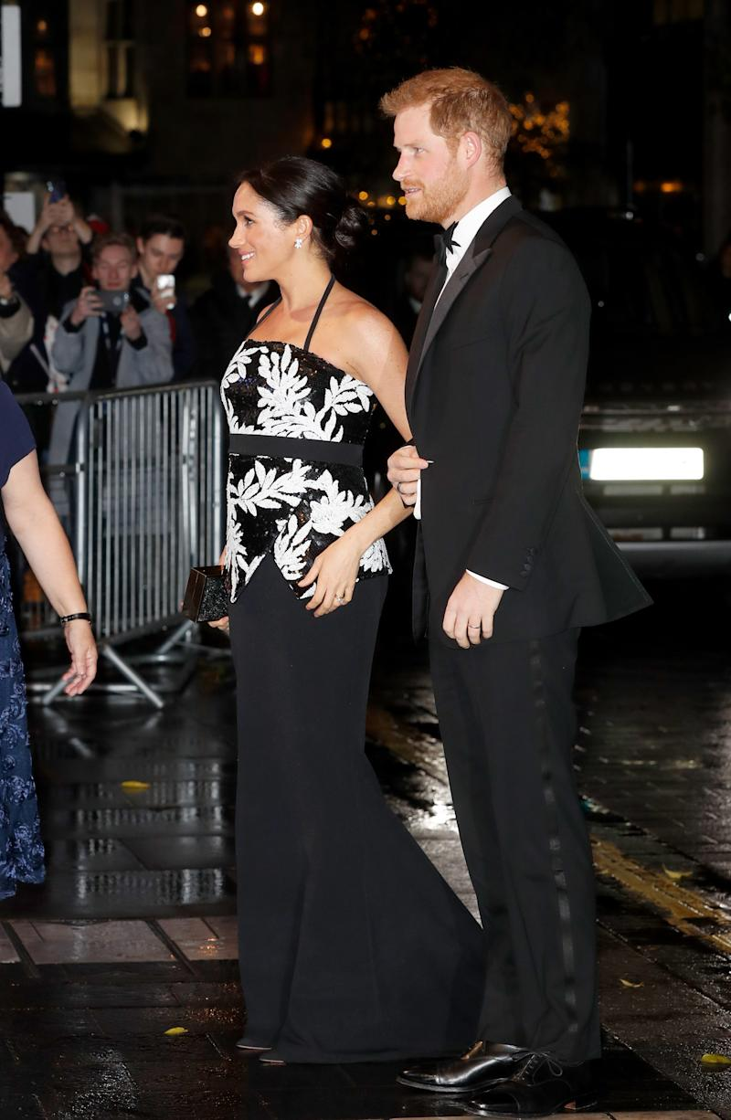LONDON, ENGLAND - NOVEMBER 19: The Duke and Duchess of Sussex arrive at The Royal Variety Performance 2018 at London Palladium on November 19, 2018 in London, England. (Photo by Chris Jackson/Chris Jackson/Getty Images)