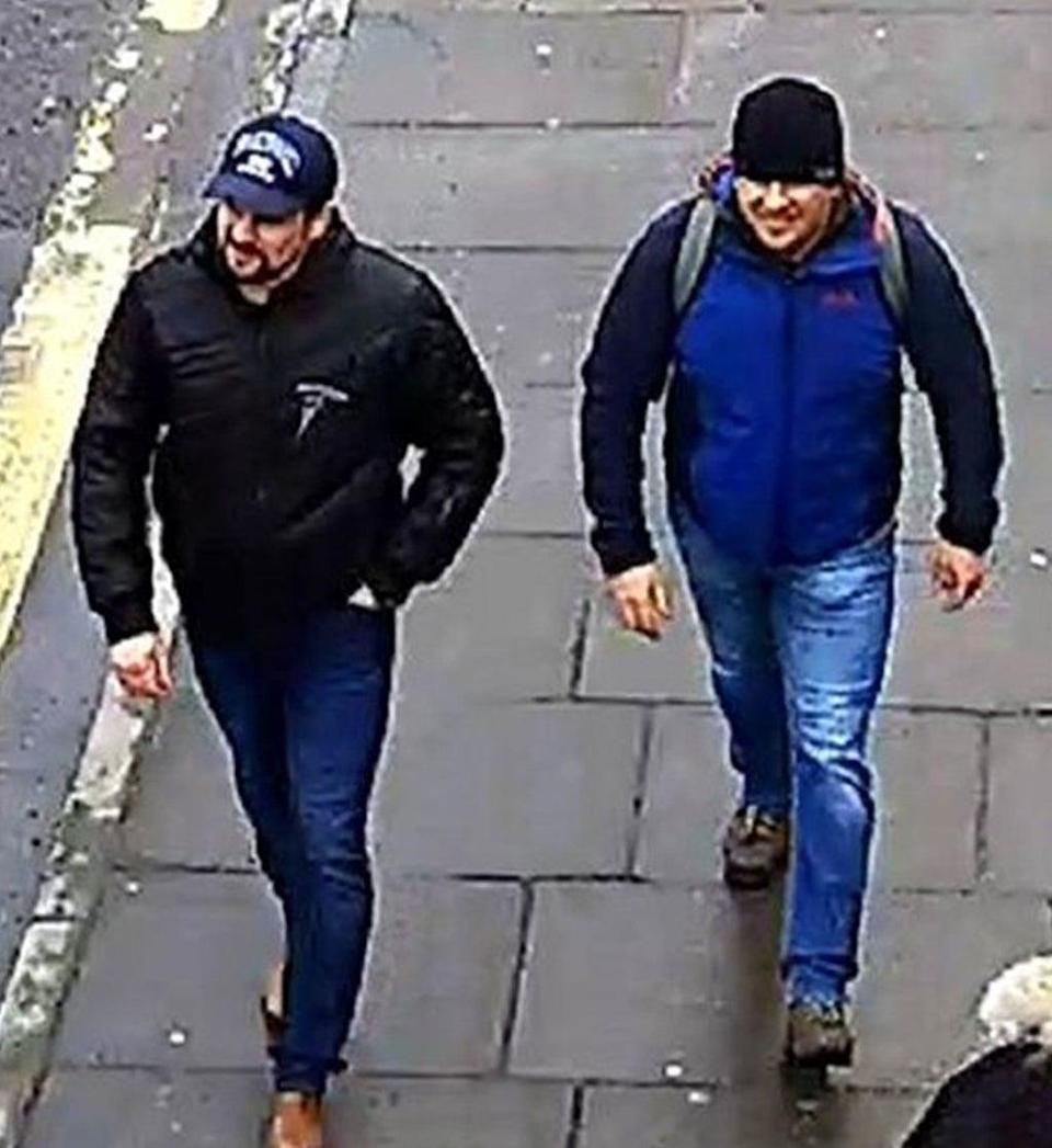 The suspects on Fisherton Road, Salisbury at 1.05pm on 4 March 2018 (Metropolitan Police/PA)