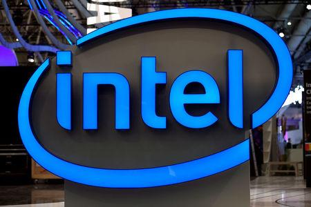 FILE PHOTO: Intel's logo is pictured during preparations at the CeBit computer fair, which will open its doors to the public on March 20, at the fairground in Hanover, Germany, March 19, 2017. REUTERS/Fabian Bimmer/File Photo
