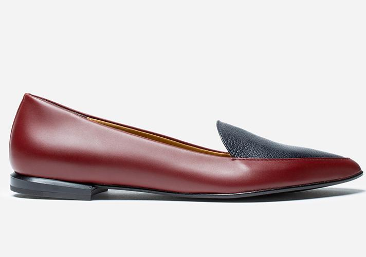 """Everlane The Modern Point in Oxblood/Navy, $155; at <a rel=""""nofollow"""" href=""""https://www.everlane.com/products/womens-modern-point-oxbloodnavy?collection=womens-shoes"""" rel="""""""">Everlane</a>"""