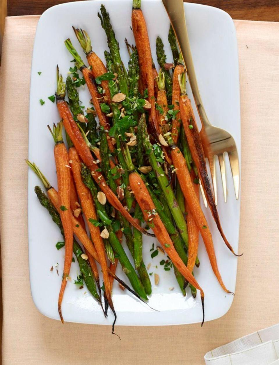 """<p>You'll want to add this gremolata, a mixture of almonds, garlic, lemon zest, parsley and lemon juice, to everything.</p><p><em><a href=""""https://www.womansday.com/food-recipes/food-drinks/recipes/a53987/roasted-carrots-and-asparagus-with-almond-gremolata-recipe/"""" rel=""""nofollow noopener"""" target=""""_blank"""" data-ylk=""""slk:Get the recipe from Woman's Day »"""" class=""""link rapid-noclick-resp"""">Get the recipe from Woman's Day »</a></em></p>"""