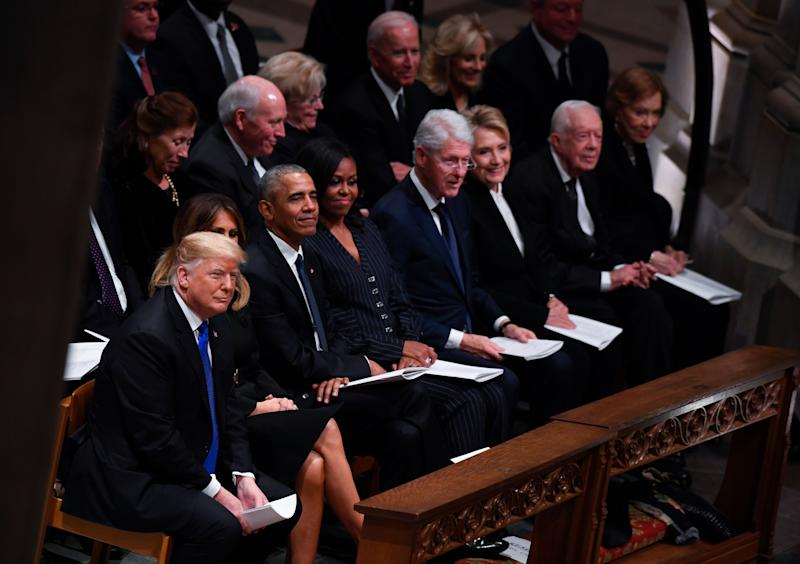 From left, President Donald Trump, First Lady Melania Trump, Barack Obama, Michelle Obama, Bill Clinton, Hillary Clinton, Jimmy Carter, and Rosalynn Carter attend the State Funeral of former President George H.W. Bush at the Washington National Cathedral in Washington, Dec. 5, 2018.