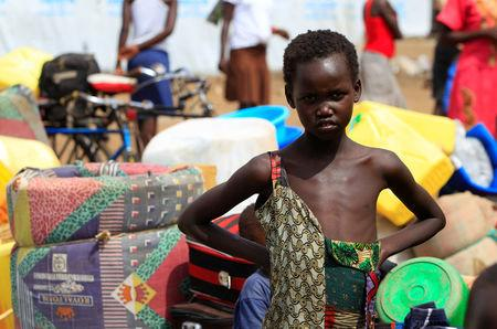 South Sudanese refugee girl displaced by fighting, arrives at Imvepi settlement in Arua district