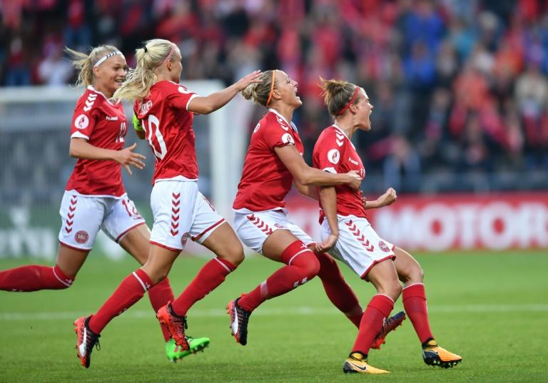 Denmark's Katrine Veje (R) celebrates after scoring against Norway on July 24, 2017