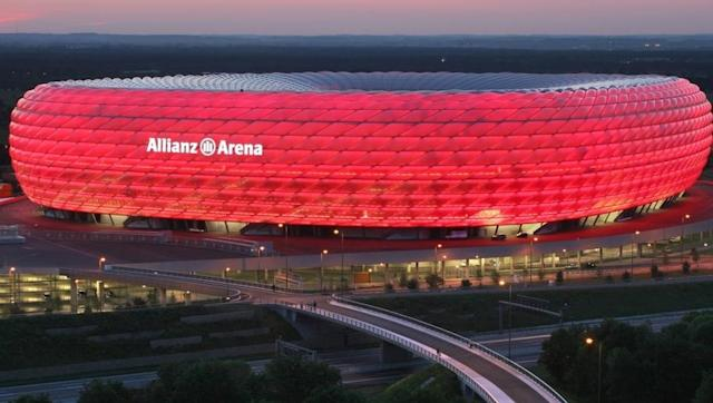 <p><strong>Stadium name: Allianz Arena</strong></p> <p><strong>Year moved in: 2005</strong></p> <p><strong>Capacity: 75,000</strong></p> <br><p>One of the most aesthetically pleasing football stadiums in the world, Bayern's Allianz Arena is best known for it's array of exterior inflated panels, making it the first stadium in the world with a colour changing exterior. </p> <br><p>It was used to host the 2012 Champions League final as well as being used at the 2006 FIFA World Cup. </p> <br><p>1860 Munich also played their games at the 75,000 capacity stadium, until Bayern bought their 50% share of stadium rights for €11m back in April 2006. </p>