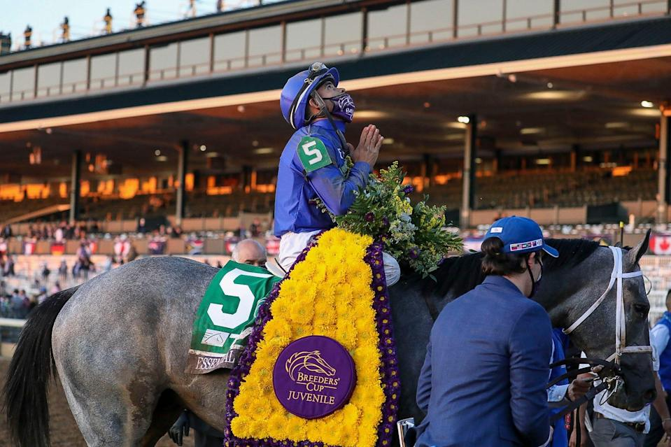 Luis Saez aboard Essential Quality (5) reacts after winning the Breeder's Cup Juvenile race during the 37th Breeders Cup World Championship at Keeneland Race Track.