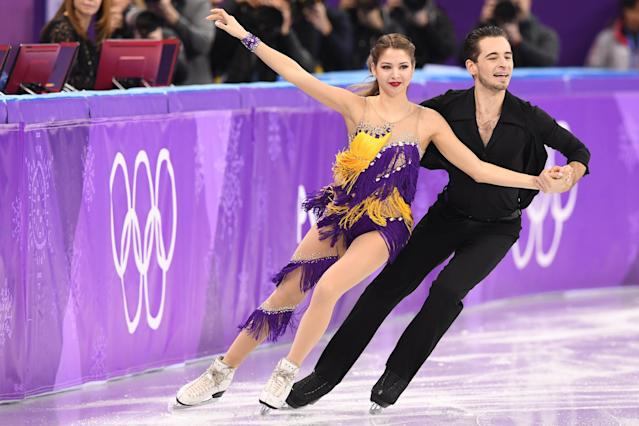 Alexandra Nazarova and Maxim Nikitin perform in the Olympic ice dancing competition on Monday in PyeongChang. (Getty Images)