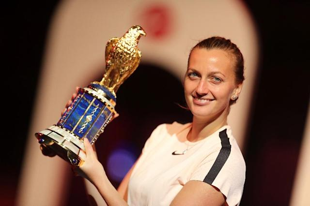 Petra Kvitova has now won back-to-back titles following her success in St Petersburg (AFP Photo/KARIM JAAFAR)