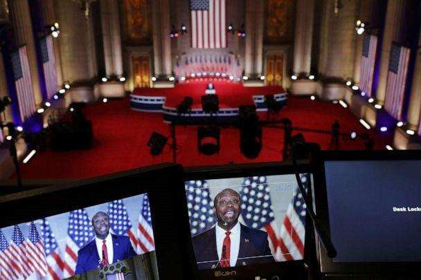 PHOTO: Sen. Tim Scott stands addresses the Republican National Convention at the Mellon Auditorium on Aug. 24, 2020, in Washington. (Chip Somodevilla/Getty Images)