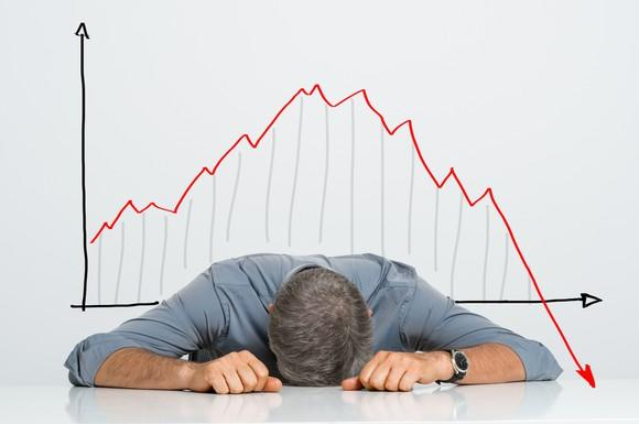 Man with head on desk as a red arrow in a line chart plunges downward behind him.