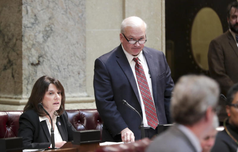 Wisconsin Senate Majority Leader Scott Fitzgerald (R) in a special session in Madison on Dec. 4. He rammed through bills to weaken the incoming Democratic governor, but the centrist group No Labels declined to say that Republicans were behind the effort. (ASSOCIATED PRESS)