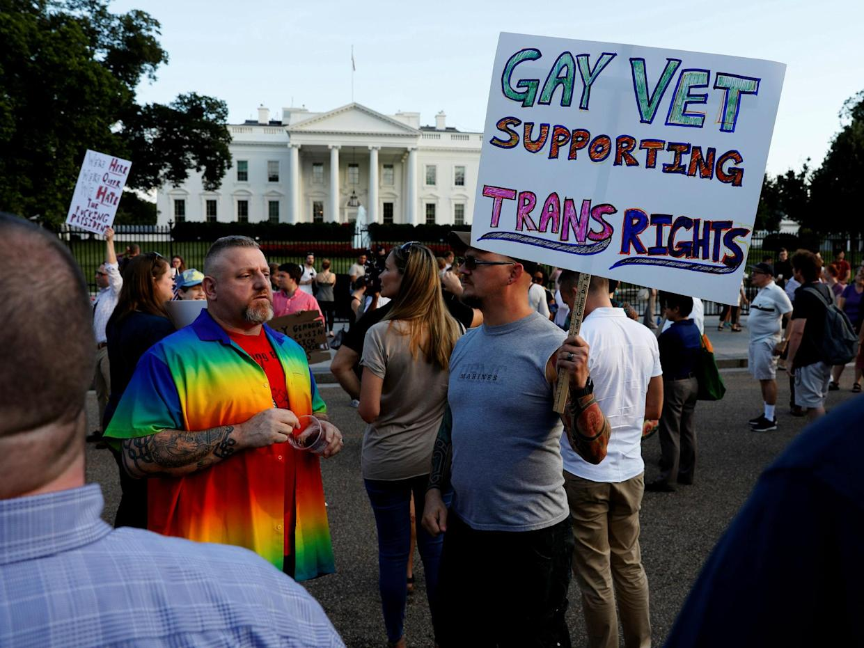 The President's attempts to bar trans service members was met with widespread outrage and protests: Reuters