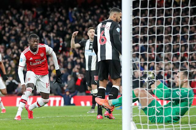 Pepe slots home Arsenal's second Photo: AP