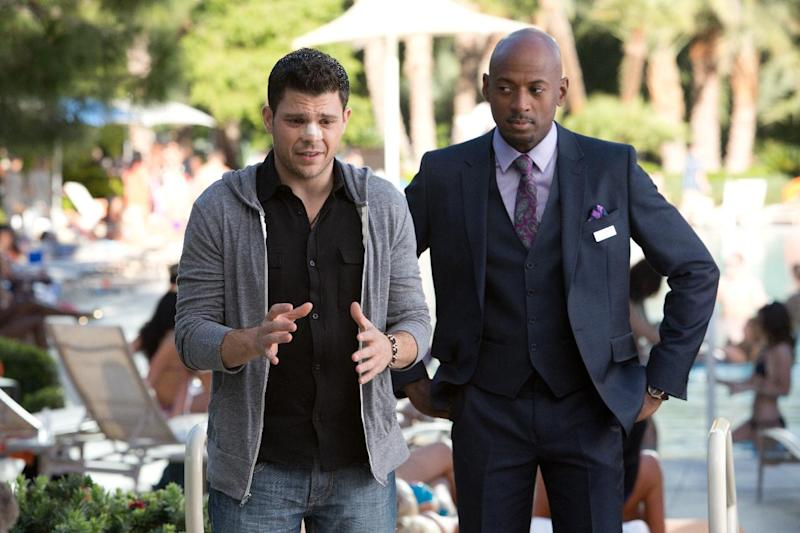 "This image released by CBS Films shows Jerry Ferrara, left, and Romany Malco in a scene from ""Last Vegas."" (AP Photo/CBS Films, Chuck Zlotnick)"