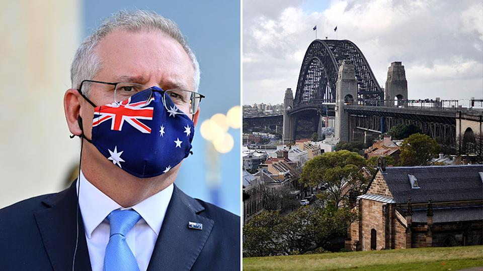 ScoMo wearing a mask and the Sydney skyline.