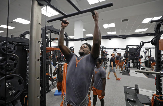 Texas Longhorns' B.J. Foster works out Wednesday Sept. 4, 2019 in Austin, Tx. ( Photo by Edward A. Ornelas )